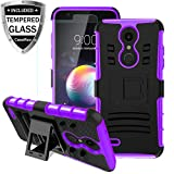 LG K30 Case,LG K10 2018/LG Xpression Plus/LG CV3 Prime/LG Harmony 2/LG Phoenix Plus/Premier Pro LTE Case w/Tempered Glass Screen Protector,Kickstand Heavy Duty Shockproof Protective Phone Cover,Purple