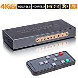 HDMI Switch 5 in 1 Out Support 4K@60Hz,HDCP 2.2,UHD,CEC,HDR4:4:4,Full HD,3D,1080P Compatible for PS4/PS3/Xbox One/360/ Fire TV/Apple TV, HDMI 2.0 Switcher with IR for Game Home Projector Use