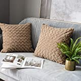 LANANAS Luxury Soft Plush Faux Fur Throw Pillow Covers for Couch Decorative Mongolian Fur Throw Pillow Covers Pack of 2 (18'x 18', Light Brown)