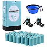 MESS-FREE Dog Poop Bag (405 Count) - 27 Rolls Leak-Proof Dog Waste Bags - Dog Bag Refill Rolls - Dog Poop Bags Earth Friendly - Eco Friendly Dog Poop Bags - Dispenser & Portable Collapsible Dog Bowl