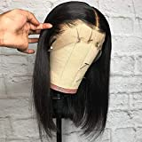 BEEOS 13x6 Short Bob Lace Front Human Hair Wigs for Black Women, 150% Density Pre Plucked and Bleached Knots Natural Hairline Brazilian Remy Bob Wig (10 inch)