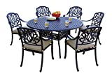 Darlee 7 Piece Elisabeth Cast Aluminum Dining Set with Sesame seat Cushions and 60'' Round Dining Table, Antique Bronze Finish