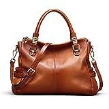 Kattee Women's Urban Style Genuine Leather Tote Satchel Shoulder Handbag Brown