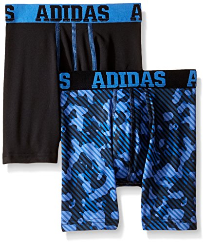 adidas Boys Sport Performance Climalite Boxer Brief Underwear (2 Pack), Bold Blue/Ray Blue, Small