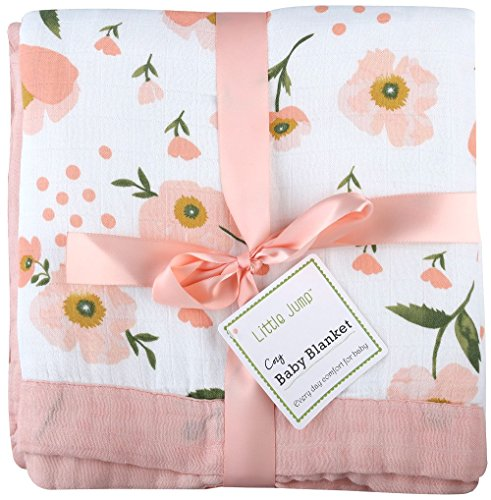 Muslin Toddler Blanket -'Floral Print' Bamboo Muslin Quilt - Oversized 47' x 47' - 2 Layers Muslin Stroller Blanket for Baby Girl (Floral) (Floral)