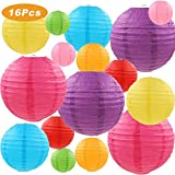 LURICO 16 Pcs Colorful Paper Lanterns (Multicolor,Size of 4', 6', 8', 10') - Chinese/Japanese Paper Hanging Decorations Ball Lanterns Lamps for Home Decor, Parties, and Weddings