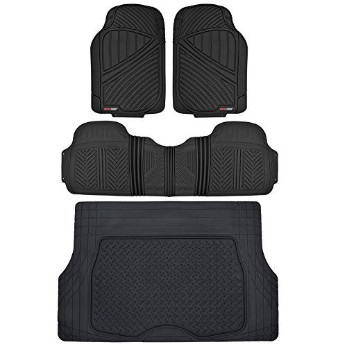 Motor Trend Flextough Rubber Car Floor Mats & Cargo Trunk Mat Set Black Heavy Duty - Odorless, Extreme Duty (Black)