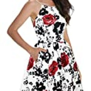 FANCYINN Women's Floral Print Short Dress Spaghetti Strap Backless Mini Skate Dress Rose Floral L