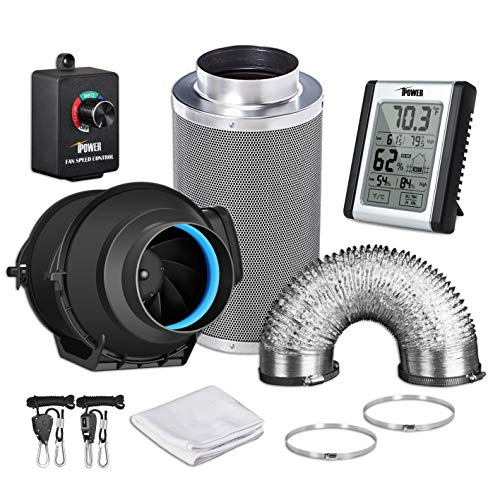 iPower GLFANXEXPSET4D8CHUMD 4 Inch 150 CFM Inline Carbon Filter 8 Feet Ducting with Fan Speed Controller and Temperature Humidity Monitor and Grow Tent Ventilation, Kits, Black