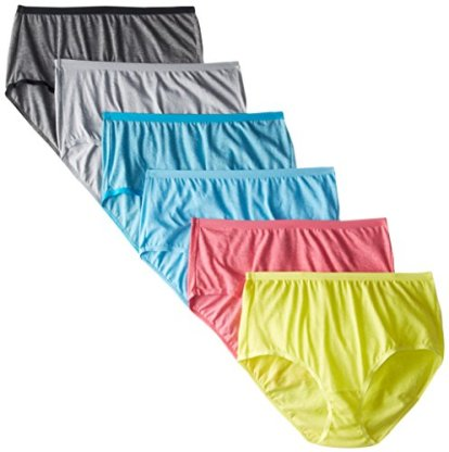 "Fruit of the Loom Women's 6 Pack Beyond Soft Brief Panties (Assorted, 6 (Hips 38"" - 39""))"