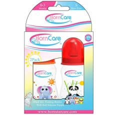 BornCare Feeding Bottle Regular Easy Grip with Silicone Nipple, Slow Flow, 4 oz, 2 Piece