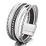 17mile Layered Leather Wrap Bracelet Handmade Weave Chain Cuff Bangle Alloy Magnet Buckle Bracelets for Women,Girls Gift