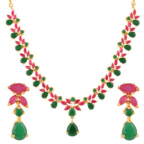 Swasti-Jewels-Gold-Plated-CZ-Necklace-and-Earrings-Set-for-Women