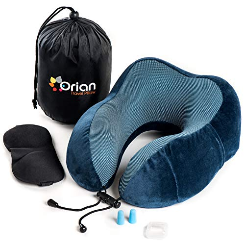 Orian Travel Pillow Set, Pure Memory Foam, Full Head & Neck Support, The Best Travel Set on an Airplane\Car\Bus Incl. Luxury Eye Mask, Earplugs & Large Side Cellphone Pocket -Blue