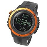 Lad Weather Altimeter Watch Barometer Digital Compass Thermometer Weather Monitor Climbing Trekking Camping Hiking Outdoor (Orange/Black)
