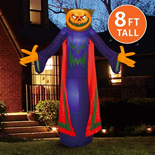 Joiedomi Halloween 8 FT Inflatable Pumpkin Wizard with Build-in LEDs Blow Up Inflatables for Halloween Party Indoor, Outdoor, Yard, Garden, Lawn Decorations