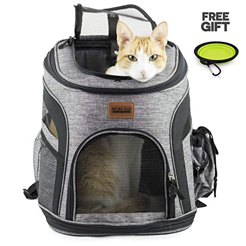RETRO PUG Cat Carrier Backpack - Front Pack - Airline Approved - Strap Adjustable - Pet Carriers for Small Dogs and Cats - Travel, Hiking, Outdoor with Dog - Include Fleece Pad - Up to 10 lbs 1