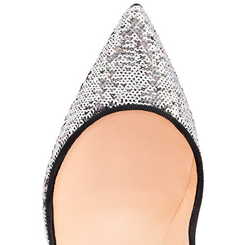 51M 8JdoRwL PUMPS CHRISTIAN LOUBOUTIN, SEQUINS 100%, color SILVER, Heel 100mm, Leather sole, PIGALLE FOLLIES, FW17, product code 3170639CM09 FW17