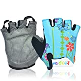 MIFULGOO Boy Girl Child Children Kid Padded Half Finger Fingerless Short Gloves Mitt Mitten for Cycling Exercise Skate Skateboard Roller Skating (Blue Flower, M)