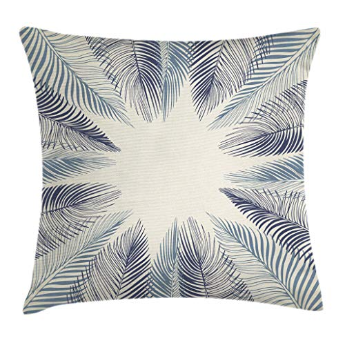 Ambesonne Palm Leaf Throw Pillow Cushion Cover, Hand Drawn Stylized Leaves Framework Floral Environment Theme, Decorative Square Accent Pillow Case, 20 X 20 Inches, Slate Blue Dark Blue Beige