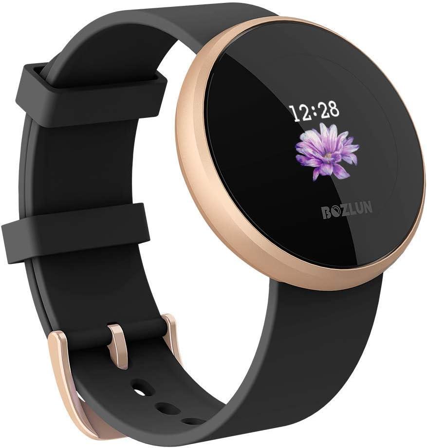 Montre Intelligente Femme,Hommes Moniteur de fréquence Cardiaque avec écran Couleur, IP68 étanche Réveil Automatique écran Montre Intelligente téléphone Mobile pour iPhone Android (Black)