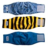 JoyDaog Reusable Belly Bands for Small Dog Diapers Male Washable Puppy Wrap M(Pack of 3)