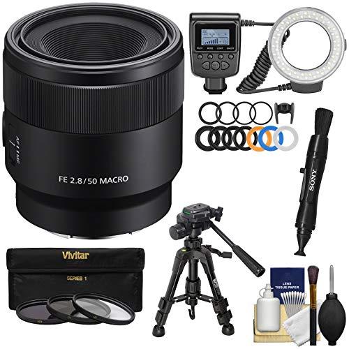 Sony Alpha E-Mount FE 50mm f/2.8 Macro Lens with Ring Light + Macro Tripod + 3 UV/CPL/ND8 Filters + Kit