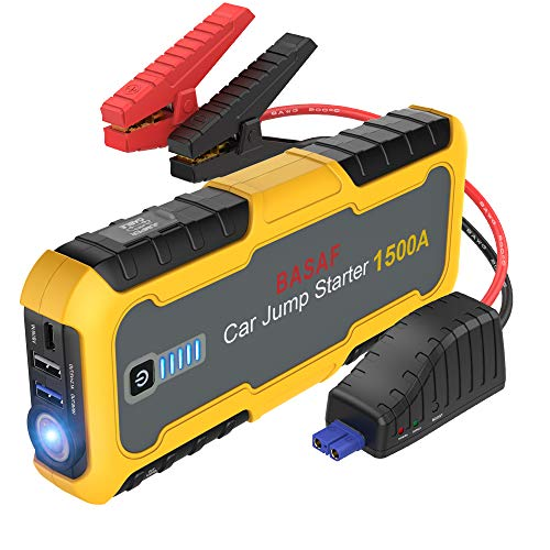 BASAF Car Jump Starter 1500A Peak (All gas, up to 6.5L diesel engine), Portable Battery Booster, 12V Lithium Jump Pack, Quick Charge 3.0, Type-C Power Bank