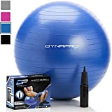 DYNAPRO Exercise Ball - 2,000 lbs Stability Ball - Professional Grade – Anti Burst Exercise Equipment for Home, Balance, Gym, Core Strength, Yoga, Fitness, Desk Chairs (Blue, 75 Centimeters)