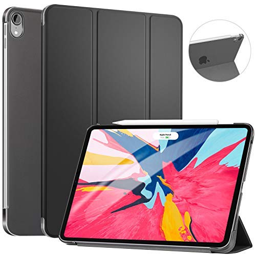 Ztotop Case for iPad Pro 11' 2018 - Slim Lightweight Trifold Stand Smart Shell with Auto Wake/Sleep + Rugged Translucent Back Cover Support iPad Pencil Charging for iPad Pro 11, Black