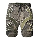 Realtree Camo Wallpapers Men Quick Dry Stripe Swim Trunks Mesh Lining Beach Shorts with Loose Fit Pull Cord