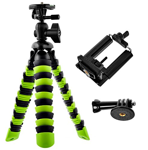 Bontend Flexible Tripod with Iphone and Smartphone Holder – A Light Camera Stand for DSLR, SLR – Free Gopro Mount