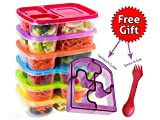 Bento Lunch Box 3 Compartment Food Containers - Set of 6 Storage meal prep Container Boxes- Ideal for Adults, Toddler, Kids, Girls, and Boys - Free 2-in-1 Fork/Spoon & Puzzle Sandwich Cutter
