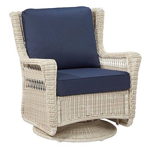 Hampton Bay Park Meadows Off-White Swivel Rocking Wicker Outdoor Lounge Chair with Midnight Cushion