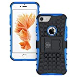 iPhone 8 Case, iPhone 7 Case Protective Cases (iPhone7 & iPhone8) Tough Rugged Shockproof Armorbox Dual Layer Hybrid Hard Plus Soft Slim Armor Phone Cover Case by Cable and Case - Blue iPhone 8 Case