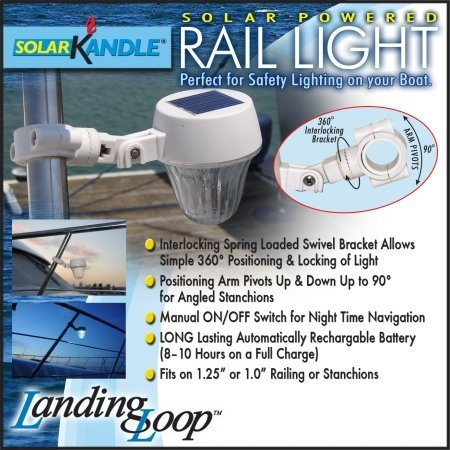 Amazon.com : SolarKandle Solar Rail Light We love these lights made for boat railings & stanchions. Solar powered. We keep them pointed on deck when at anchor, or towards the dock when in a marina.