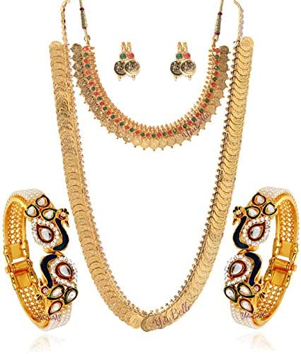 YouBella Gold Plated Pearl Studded Bangles Jewelry, Long Maharani Temple Coin Necklace, Short Red Green Necklace, and Earrings for Women