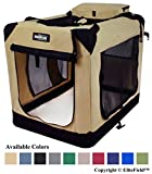 EliteField 3-Door Folding Soft Dog Crate, Indoor & Outdoor Pet Home, Multiple Sizes and Colors Available (42' L x 28' W x 32' H, Beige)