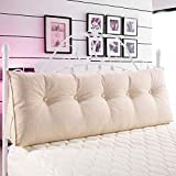 WOWMAX Triangular Reading Pillow Large Bolster Headboard Backrest Positioning Support Wedge Pillow for Day Bed Bunk Bed with Removable Cover Ivory Linen Blend Queen