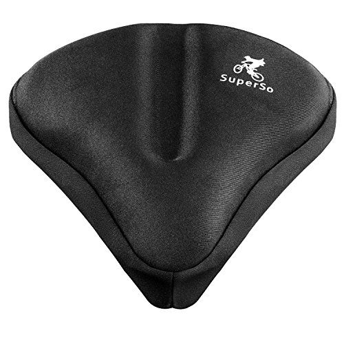 SuperSo Bike Gel Seat Cushion Cover - Premium Padded Bike Saddle - Comfortable Alternative Bicycle Cover for Passionate Cyclists (Black Large)