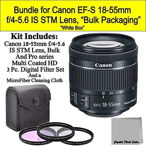 Canon EF-S 18-55mm f/4-5.6 is STM Lens -New Version- (White-Box) Bundle