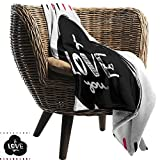 ZSUO White Throw Blanket 50'x60' Inch Romantic,Hand Drawn Poster with Modern Calligraphy and Letters Childish Design Frame,Pink Black White Cozy Hypoallergenic Easy to Carry Blanket