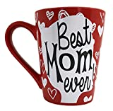 Mother's Day Coffee Mug Gifts - Best Mom Ever Ceramic Tea Cup - Birthday Presents for Mothers and Grandma - Red - 12 Oz.