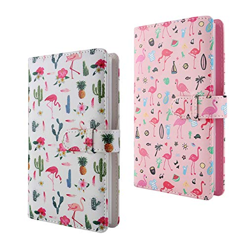 WarmHut Flamingo Instax Album Set, 2 PCS 96 Pockets Wallet PU Leather Photo Albums for Fujifilm Instax Mini 7S 8 8+ 9 25 26 90 Instant Camera Film, Polaroid Camera 3-inch Film (White & Pink)