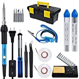 Vastar AC222 Soldering Iron Kit, 16 in 1 60W Welding Soldering Iron Temperature Adjustable with On/Off Switch, Soldering Tips, Desoldering Pump, Soldering Wire, Soldering Station Anti-static Tweezers