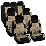 FH Group FH-FB071217 Complete Three Row Set Travel Master Seat Covers Beige/Black, (Airbag Ready & Rear Split) - Fit Most Car, Truck, Suv, or Van