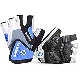 INBIKE 5mm Gel Pad Half Finger Bike Bicycle Cycling Gloves Blue Large