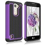 LG K7 Case, LG Treasure LTE Case, LG K8 Case, LG Tribute 5 Case, LG Escape 3 Case, LG Phoenix 2 Case, LG K373 Case, Zectoo Drop Protection Hybrid Dual Layer Armor Defender Protective Case - Purple