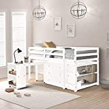 Harper&Bright Designs Low Study Twin Loft Bed with Desk and Cabinet (White)