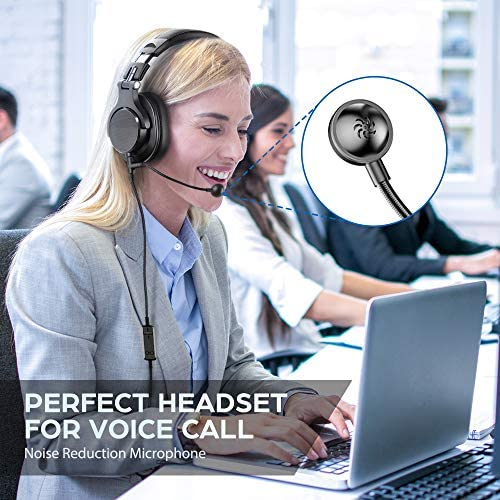 bopmen Computer Headset with Microphone - Wired Gaming Headphones with Boom Mic, On-Line Volume Control & Share-Port Over Ear Headsets for Office PC Laptop Phone Call PS4 Xbox One DJ 13